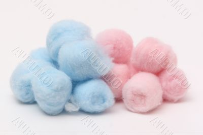 Blue and pink hygienic cotton balls