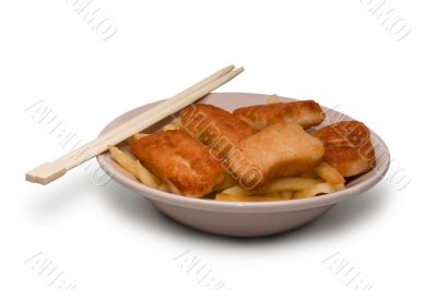 Isolated food in plate