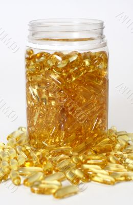 Glass pot without cover with gold boluses