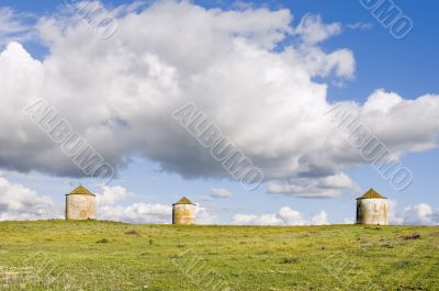 Three agriculture silos