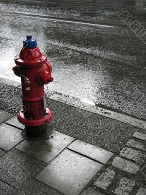 fire hydrant on wet street