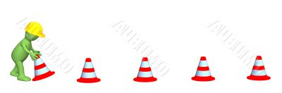 3d puppet - working, installing emergency cones