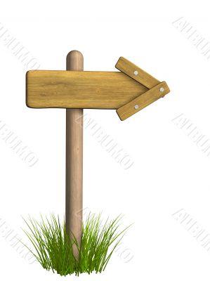 3d retro wooden arrow - index on a column
