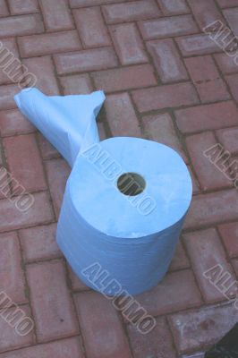 Roll of Blue Industrial Tissue