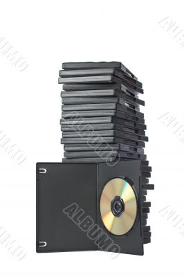 DVD movies in packing boxes