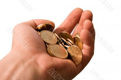 isolated hand with gold coins