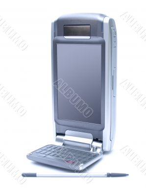 PDA with stylus and flip keyboard on white background