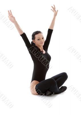 fitness in black leotard
