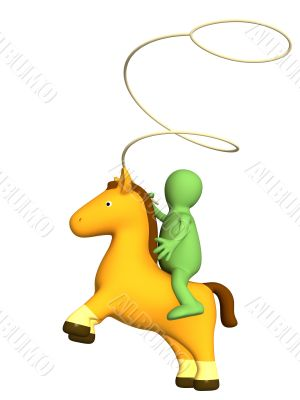 3d cowboy - puppet with lasso, sitting horseback