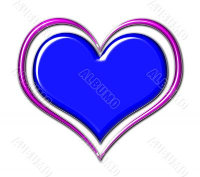 Heart in Blue and Purple Chrome