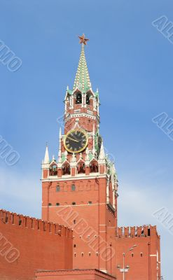 Kremlin. Tower. Clock. Red star.