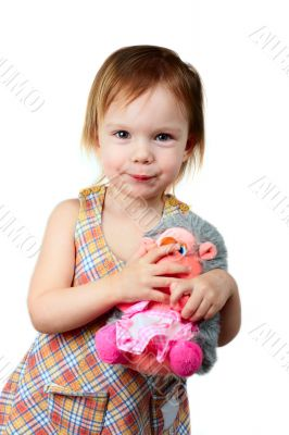 little beauty girl with toy hedgehog
