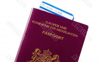 Plane ticket in a passport.