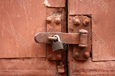 old lock, latch and rusty gate