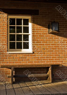 Brick, Bench and a window