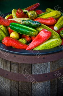 Bucket of Fake Peppers