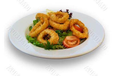 Fresh Calamari and Salad Lunch