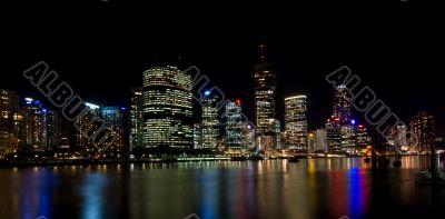 Brisbane River and City Skyline at Night