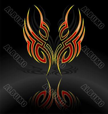 vector tribal tattoo motive on dark background