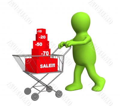 3d person - puppet, bought the goods at a discount