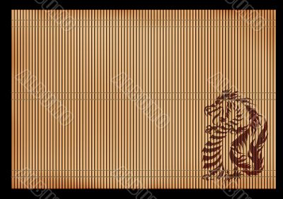 Background -  ancient Japanese mat with a dragon