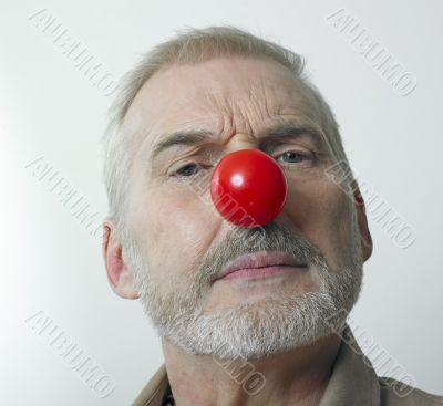 worried man and red nose