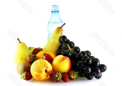 various of ripe fresh fruits with bottle of water