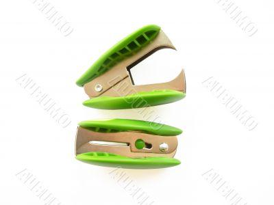 two light-green anti-staplers