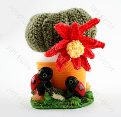 Knited cactus with flower