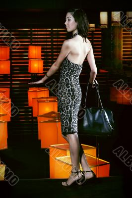Beautiful woman in restaurant