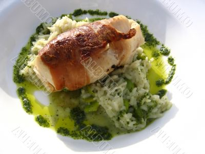 Monkfish Wrapped in Palma Ham on a Bed of Mint Risotto