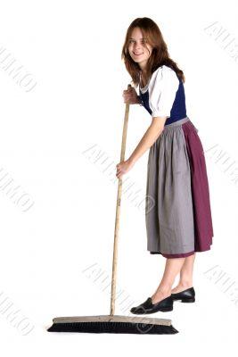 woman in Dirndl sweeps