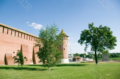 Bricks citadel and trees in Russia, summer day