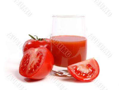 Juicy tomatoes and tomato juice