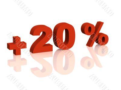 Red 3d inscription - plus of twenty percent