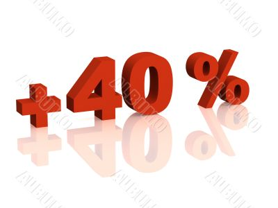 Red 3d inscription - plus of  forty percent