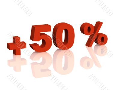 Red 3d inscription - plus of fifty percent