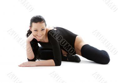 sporty girl in black leotard
