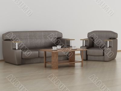Living room interior. 3D image.