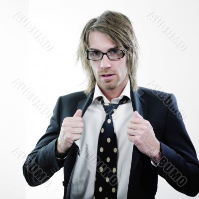 Bespectacled man in suit