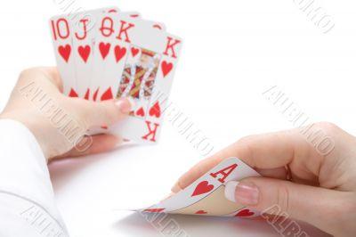 royal flush poker hand, focus on ace