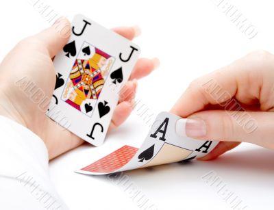 blackjack hand - drawing ace