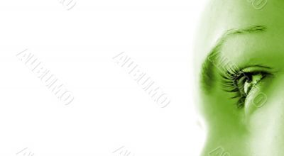 Women`s eye - looking forward.Isolated on white.