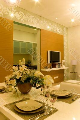 Elegant Dinning room with good interior design
