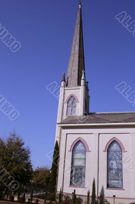 Church With Decorative Steeple And Windows