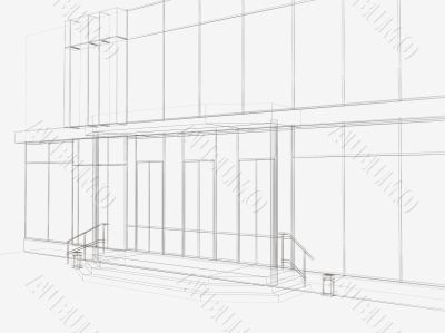 3d drawing of an entrance in shop