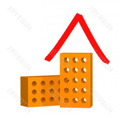 The stylized house from two 3d bricks