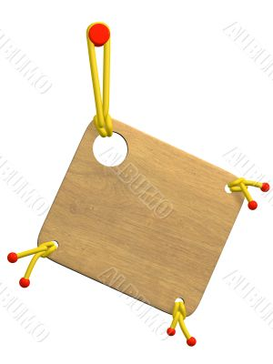 Wooden tablet, decorated bright cords and beads