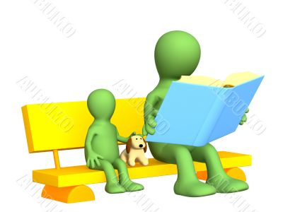 Puppet - parent, reading to the child the book