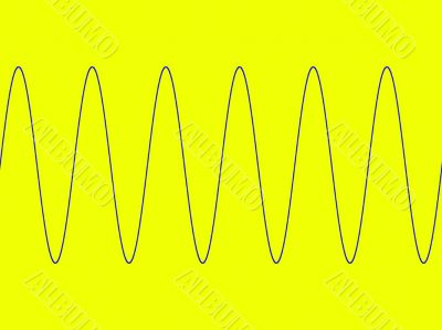 Sine wave on yellow background